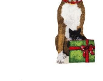 Boxer Dog Christmas Iron On Fabric Transfer Applique - 704