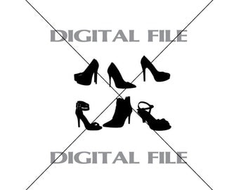 Six Assorted High Heel Shoes Vector Art Vinyl Decal T-shirt Digital Cutting Files ,Svg, Ai, Eps, Dxf