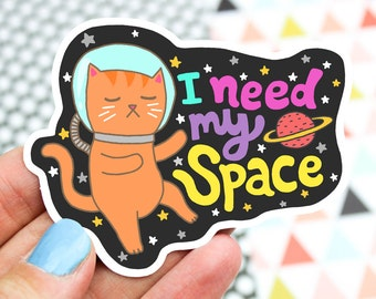 Cat Vinyl Sticker, Space Cat, Outer Space, Science Cat, Laptop Sticker, Galaxy Cat, Water Bottle Sticker, Thermos Decal, Helmet Stickers
