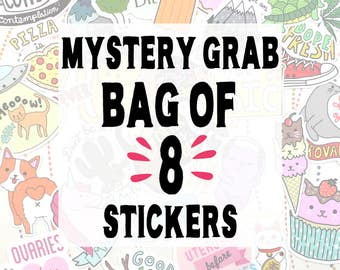 Mystery Grab Bag of 8 Vinyl Stickers, Random Stickers, Funny Stickers, Stickers, Weatherproof Decals, Assorted Stickers, Blind Box Stickers
