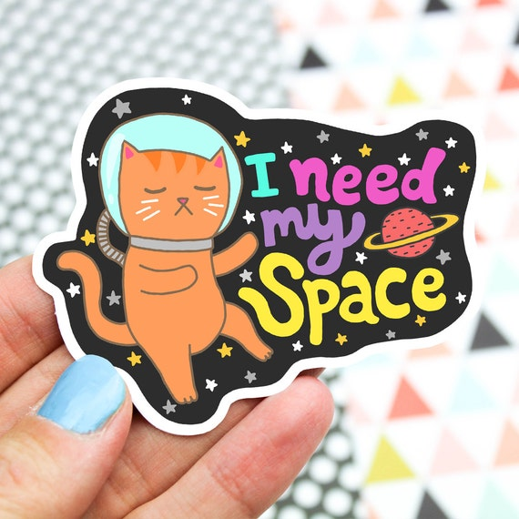 Cat vinyl sticker space cat outer space science cat laptop for Outer space vinyl wall decals