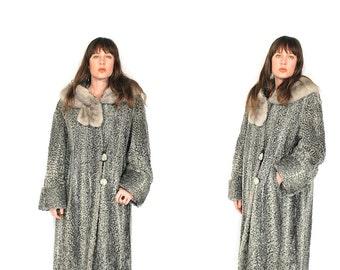 Vintage Persian Lamb Fur Coat - 50s/60s Grey Curley Lamb Mink Collar Fur Long Coat - 1950s 1960s Silver Curley Persian Lamb Fur Swing Coat