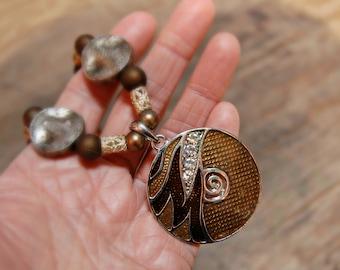 Vintage Boho Necklace, Vintage Bohemian Necklace, 70's Boho Necklace, Hippie Boho Necklace, Brown Enamel Necklace, Boho Jewelry