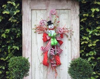 Snowman wreath, Snowman Christmas Wreath, Christmas Snowman Wreath, Snowman Christmas, Snowman Christmas Swag, Snowman door hanger