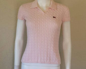 90s preppy baby pink Ralph Lauren cable knit short sleeve top Small All cotton Great condition