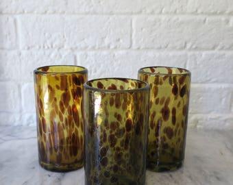set of 3 vintage handblown faux tortoise shell drinking glasses, mid century drinking glasses, blown glass