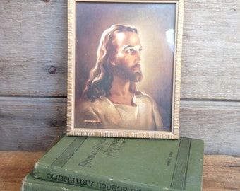 vintage Jesus litho in frame / Jesus wall decor / framed religious print