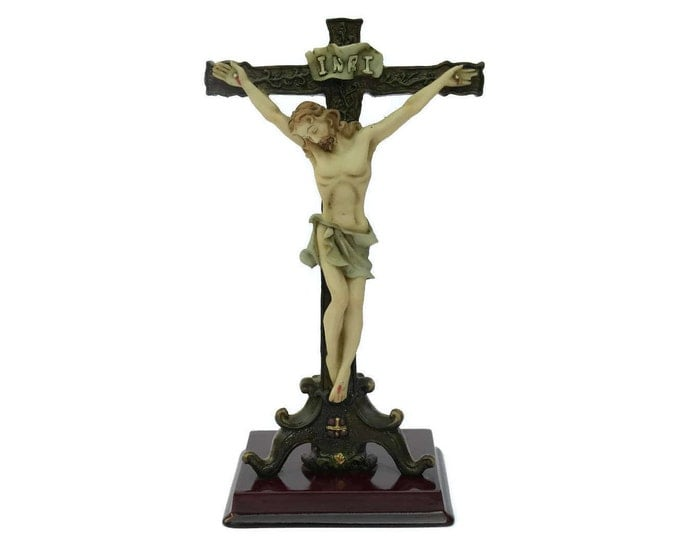 Vintage Standing Crucifix. Kitsch Religious Collectible. Communion Gift. Plastic Crucifix.