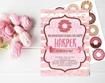 Donut Birthday Party Invitation for a Girl - Printable Party Invites - Instant Download