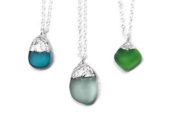 Blue Seaglass Beach Pendant - Blue Beach Glass Pendant Necklace - Sterling Silver Blue Seaglass Necklace - Blue Seaglass Pendant Necklace