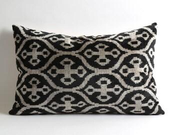 black ikat pillow, ikat pillow, pillow cover, decorative pillows, pillow, black pillow, accent pillow, home decor, black white pillow
