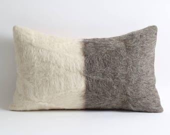 Rustic home decor pillows brown gray 12x20 inch lumbar fur kilim pillow cover goat hair home decor