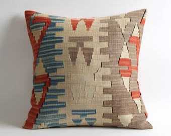 Soft kilim rug pillow cover 20x20 pillow cover bohemian home decor ethnic pillows