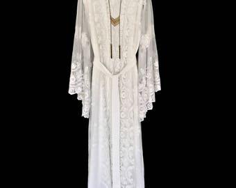 Lace kimono, brides lace robe, lace kimono robe, getting ready robe, long brides robe, lace robe, gift for bride, lace brides robe