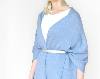 Light blue wide shawl, large, warm shoulder stole, knitted from merino extrafine