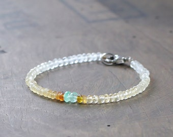 Beaded Citrine Bracelet with Colombian Emerald, Ombre Amber Yellow Green Gemstone Bracelet, Citrine Jewelry, Sterling Silver or Gold Filled