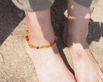 Genuine Baltic Amber feet Bracelet for Mother from mixed amber beads