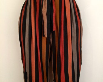 Fun 1970s 'Julie Dawn' high waisted striped knickerbockers with elastic cuffs and tie waist