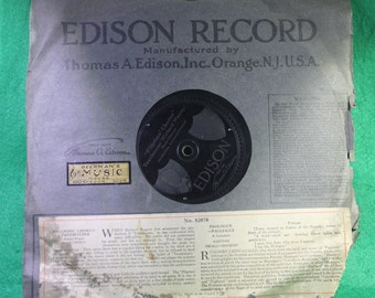 "Vintage Edison 1/4"" Thick Diamond Disc Record No. 82070 with Matching Paper Sleeve Berman Music Muskegon MI - Scarce"