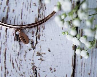 Quartz crystal bracelet | Quartz crystal bangle | Raw crystal bracelet | Bangle bracelet | Copper crystal bracelet