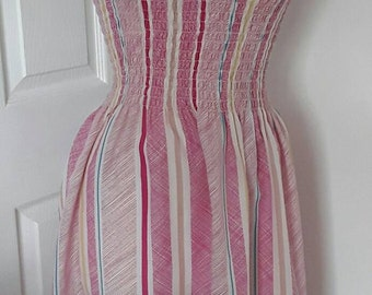 Vintage Sun Dress / 80s Pink Striped Sun Dress / Sun Days Polyester Cotton Strappy Dress / Vintage Summer Dress /Size Small