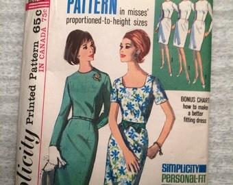 1960s 60s Sheath Dress Original Vintage Sewing Pattern Simplicity 5994 Bust 36