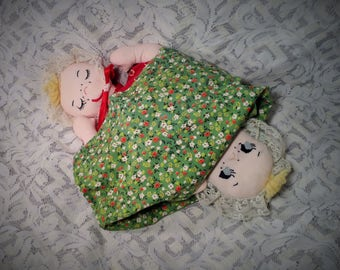 Homemade Cloth Reversible, Flip Over Doll - Sleep Awake Doll - Vintage Fabric Toy for Girls
