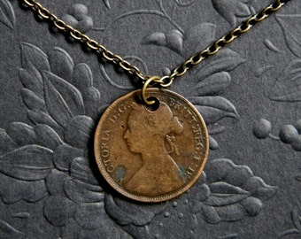 Authentic Victorian Era Half Penny Coin Necklace. Antique British Coin. 1876 Queen Victoria Hay Penny Drilled & Fitted w/ Bronze Tone Chain