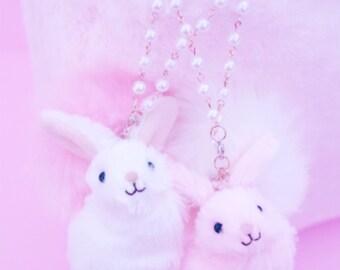 Bunny Rabbit Bag Strap Pearl Key Chain Charm Kawaii Lolita Fairy Kei Sweet Harajuku Pastel Dreamy