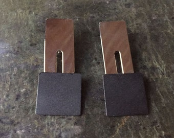 earrings pendentive tin nickelled and black mate