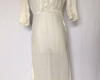 antique WHITE VICTORIAN era DRESS - extra small