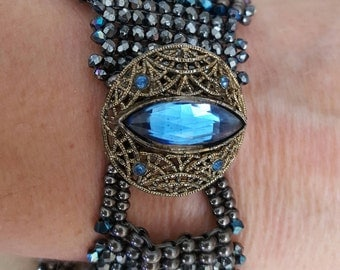 Cobalt and Graphite Swarovski Crystal Cuff