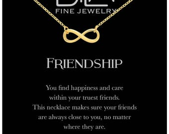 DTLA Friendship Infinity Necklace in Sterling Silver with Inspirational Quote Card - Yellow Gold Plated Silver