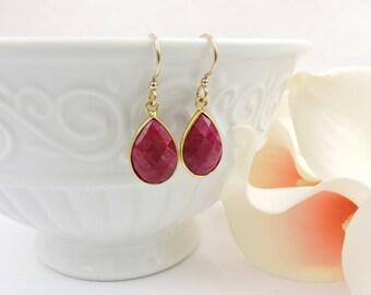 FREE US Ship Gold Vermeil Ruby Teardrop Earrings Gold Ruby Earrings Natural Ruby Earrings Natural Red Gemstone Earrings July Birthstone