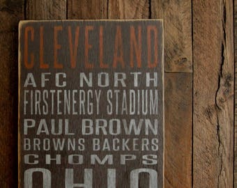 Cleveland Browns Distressed Wood Sign--Great Father's Day Gift!
