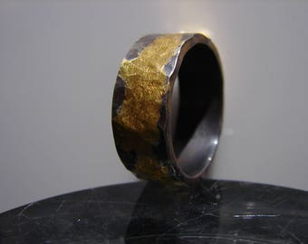 Mens wedding ring. Hammered sterling silver ring with 24k yellow gold infused. Oxidized and sealed.