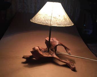 Bogwood Tree Root Lamp with hand made paper shade