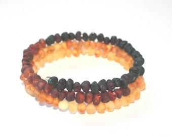 Raw Unpolished Baltic Amber Bangle Bracelet - Rainbow