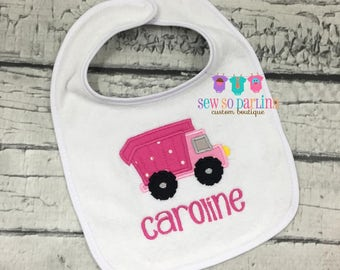Dump Truck Bib - Baby girl Bib - monogrammed bib - baby gift - baby girl construction bib - truck bib - construction bib - personalized bib