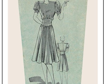 1940s Tea Dress Sewing Pattern -  Paper Sewing Pattern