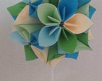 Kusudama - origami - blues, greens and cream