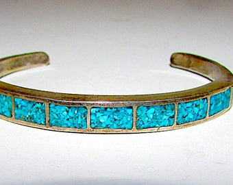 Native American Navajo Old Pawn Sterling Silver Turquoise Chip Inlay Cuff Bracelet
