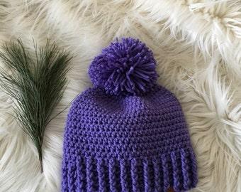 Ready to ship//Pom pom winter hat, purple toboggan, adult knit hat, modern knittted hat, beanie with a pom pom, winter crochet hat
