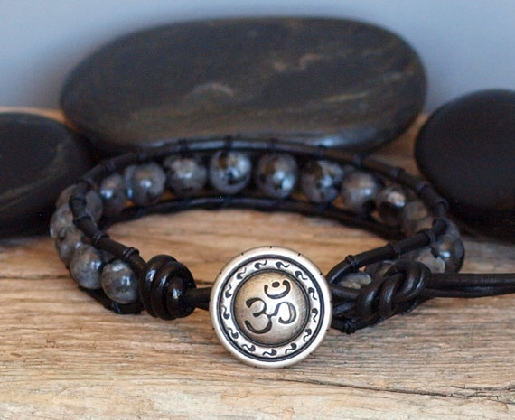 Mens Larvikite Stone Bead Black Leather Bracelet by PJsPrettys