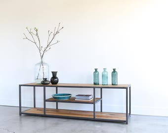 Modern TV Stand / Reclaimed Elm Wood + Steel Media Console