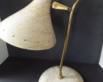 mid century modern  metal cone shade desk table  lamp gold swirl cone adjustible task light