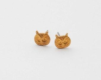 Tiny Owl Earrings, Vintage Owl Stud Earrings, GOld Owl Earrings, Snowy Owl Earrings, Dainty Earrings, Woodland Earrings, Gifts for Women