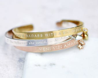 Personalised Mantra Bracelet - Message Bracelet - Personalised Bangle - Gift For Her - Sterling Silver - 18ct Gold Plated - Rose Gold Plated