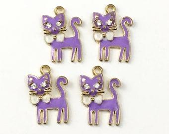 4 cat purple enamel gold charms, 20mm x 24mm # CH 102