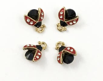 4 ladybug charm red enamel,blak strass and gold tone/ 13mm x 11mm # CH57